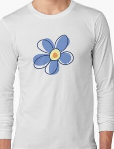 Flowers, Blossoms, Blooms, Petals - Blue Yellow Long Sleeve T-Shirt