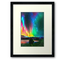 rainbow Aurora Borealis art Framed Print
