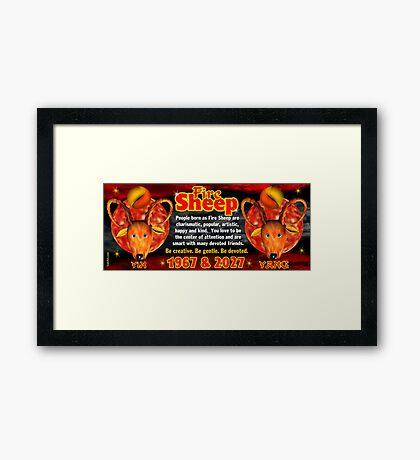 Chinese zodiac Fire Sheep 1967,2027 Framed Print