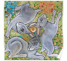 Three Hares Chase the Moon Poster