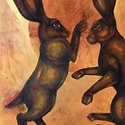 Boxing Hares by Lynnette Shelley