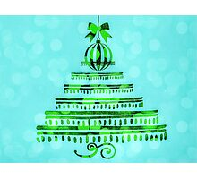 Oh Christmas tree on blue  Photographic Print