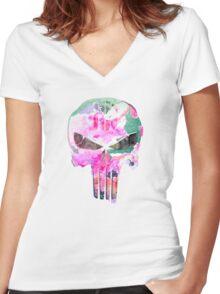Bright Punisher Skull Women's Fitted V-Neck T-Shirt