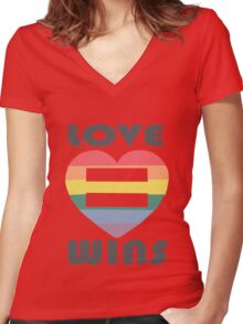 Love Wins Equality funny nerd geek geeky Women's Fitted V-Neck T-Shirt