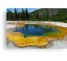 Multicoloured hot pool, Yellowstone Canvas Print