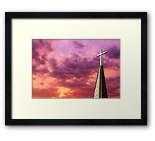 Steeple Cross Sky Framed Print
