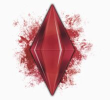 Red Plumbbob Grunge by Tracey Quick