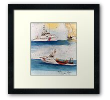 San Diego CA USCG Boats Nautical Chart Cathy Peek Framed Print