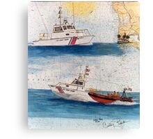 San Diego CA USCG Boats Nautical Chart Cathy Peek Canvas Print