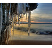 Icicles over the shore of Lake Superior Photographic Print