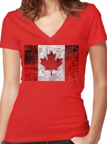 circuit board Canada (Flag) Women's Fitted V-Neck T-Shirt