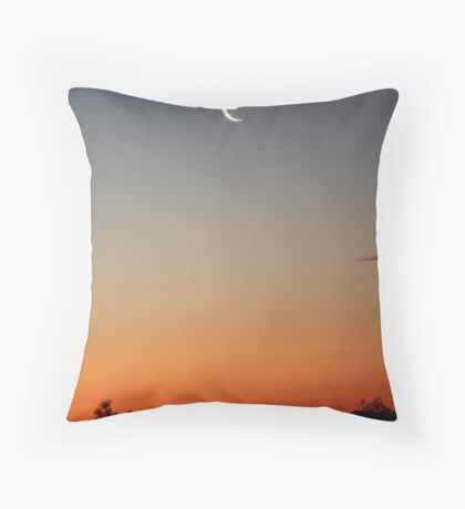 A slither of moon, over the sunset. Throw Pillow