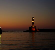 Sunset at the old Chania port by Giuseppe Ridinò