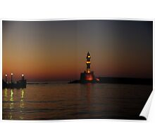 Sunset at the old Chania port Poster