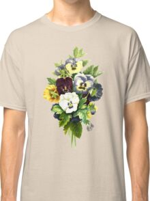 Pansies, Flowers, Leaves - Blue Yellow White Classic T-Shirt