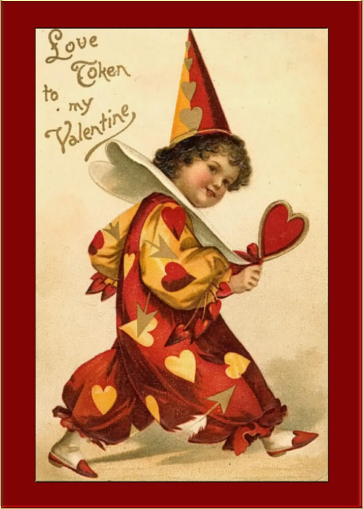 Valentine Card-Clown Boy with Hearts by Yesteryears