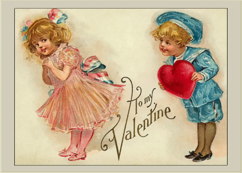 Valentine Card-Boy and Girl by Yesteryears