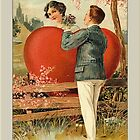 Valentine Card-Man and Woman by Fence by Yesteryears