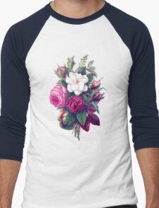 Roses, Flowers, Blooms, Leaves - Pink Green White Men's Baseball ¾ T-Shirt