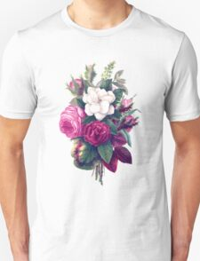 Roses, Flowers, Blooms, Leaves - Pink Green White T-Shirt