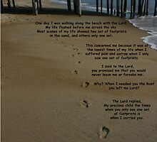 footprints in the sand with poem by Clint Fern