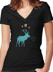 Stag Party (smaller version) Women's Fitted V-Neck T-Shirt