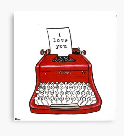 I Love You Typewriter Canvas Print