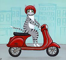 Tabby Cat on a Vespa by Ryan Conners