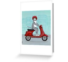 Tabby Cat on a Vespa Greeting Card