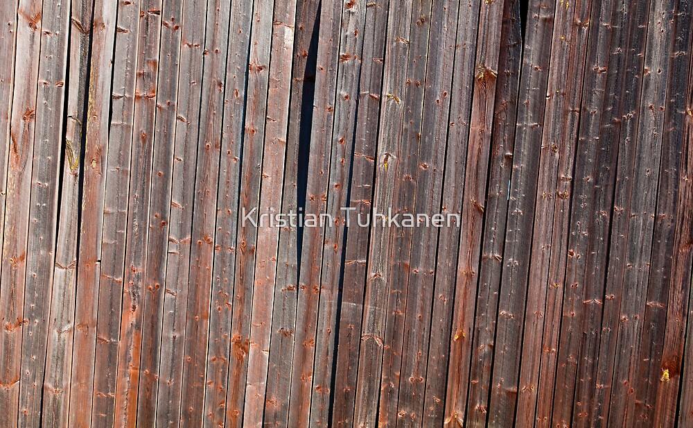 Old tilted barn wall by Kristian Tuhkanen