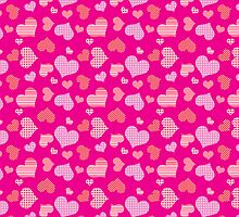 Pink Hearts Pattern by SaradaBoru
