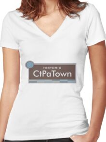 Historic CtPaTown (South Park) Women's Fitted V-Neck T-Shirt