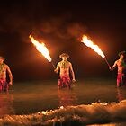 Twilight Fire Dancers in the Hawaiian Islands by DeborahKolb