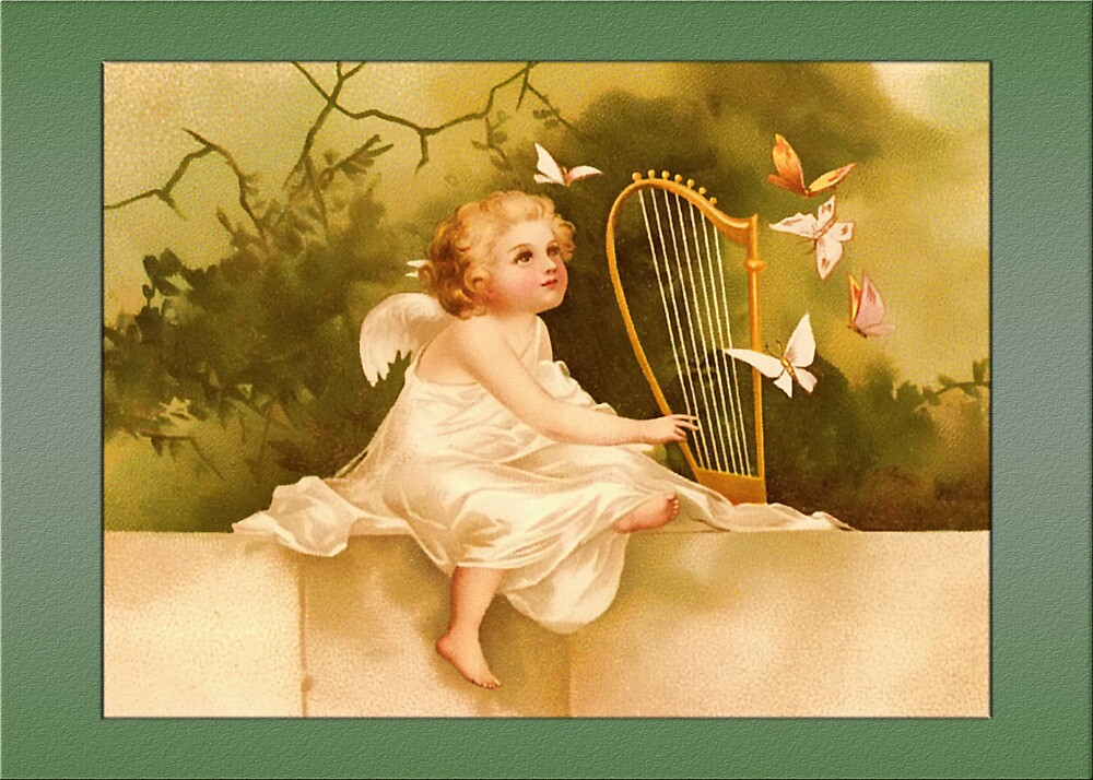 Vintage Angel Card-Baby Angel with Harp by Yesteryears