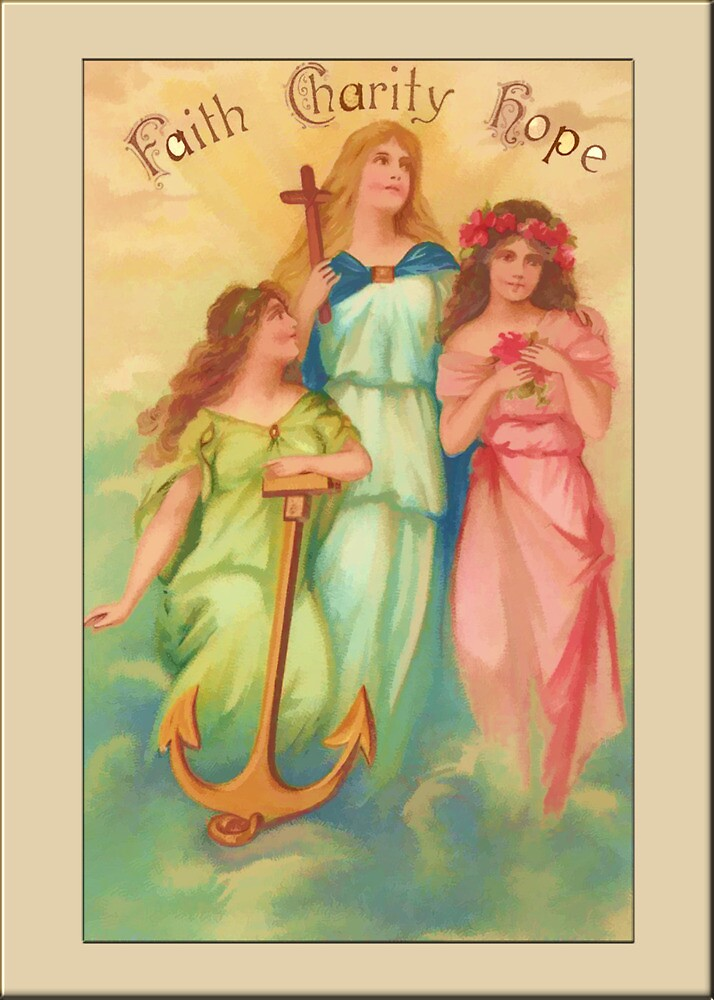 Vintage Angel Card-Faith, Hope, Charity by Yesteryears