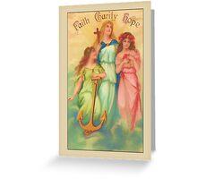 Vintage Angel Card-Faith, Hope, Charity Greeting Card