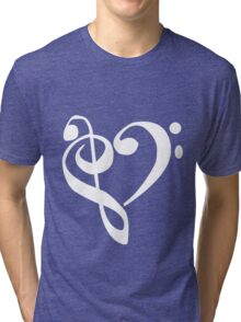 Music Clef Heart Girls funny nerd geek geeky Tri-blend T-Shirt
