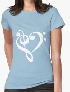 Music Clef Heart Girls funny nerd geek geeky Womens Fitted T-Shirt