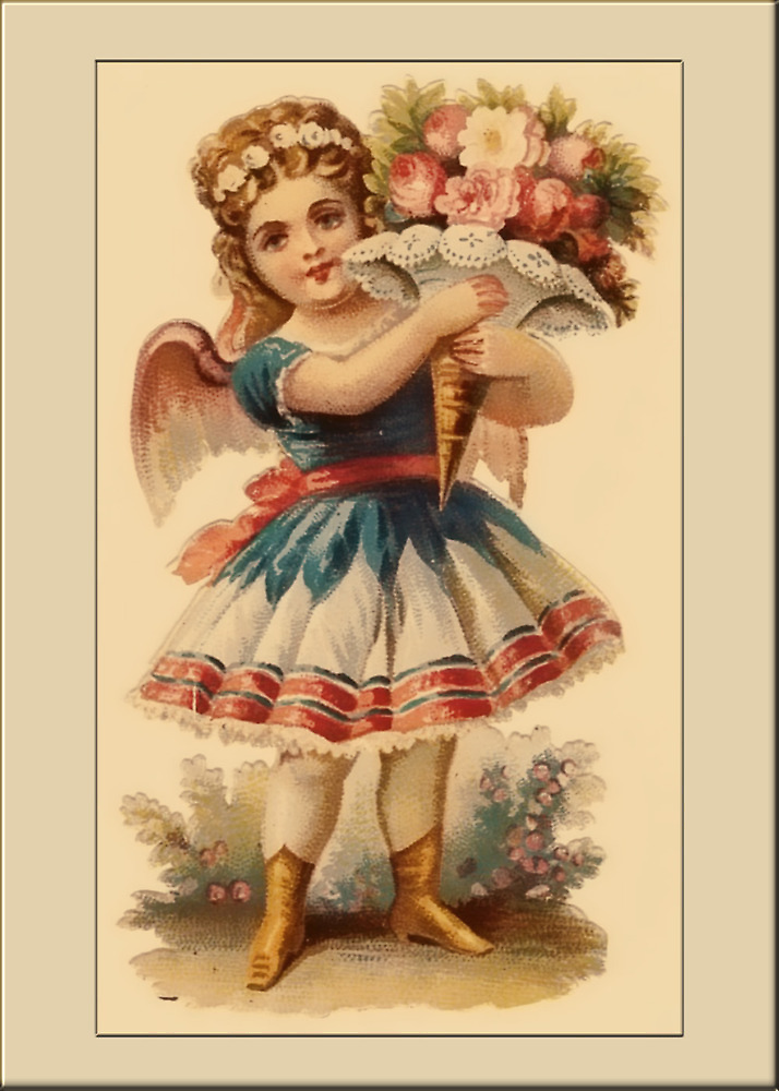 Vintage Angel Card-Angel with Bouquet  by Yesteryears
