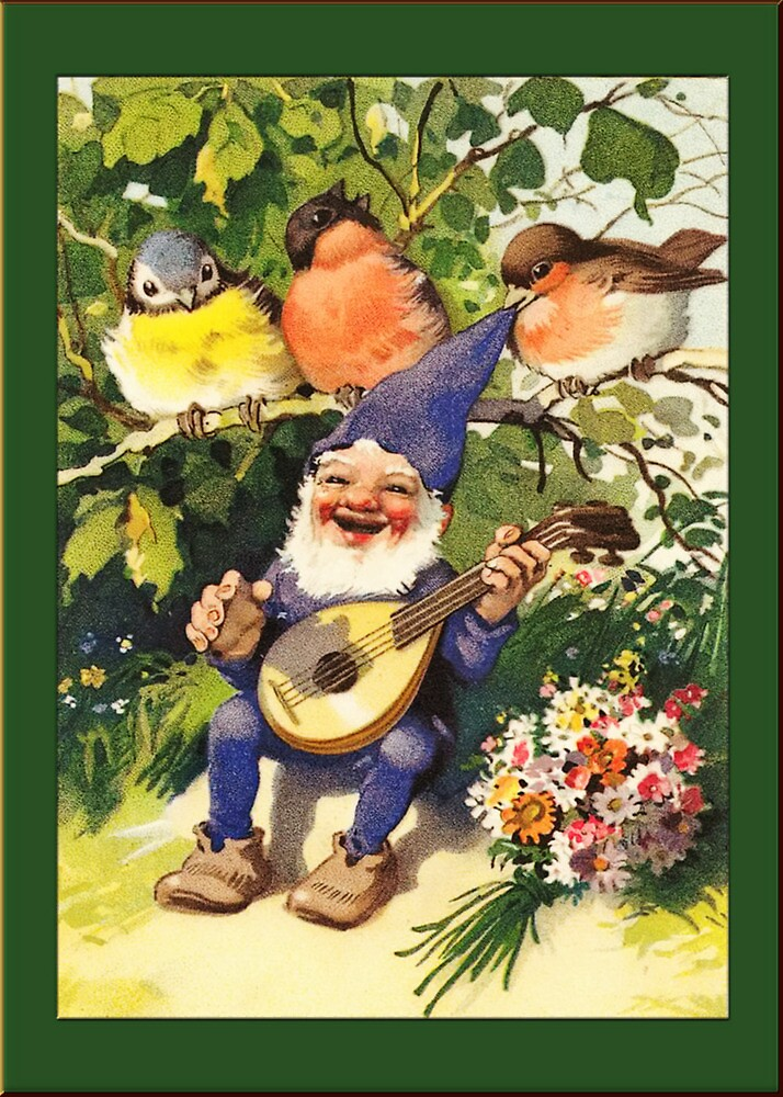 Vintage Elf Card-Elf with Guitar by Yesteryears