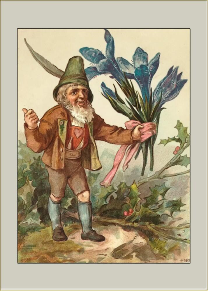 Vintage Elf Card-Elf with Flowers by Yesteryears