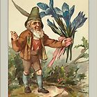 Vintage Elf Card-Elf with Flowers by Yesteryears
