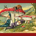 Vintage Elf Card-Elves asleep under Mushrooms by Yesteryears