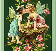 Vintage Fairies-Fairies on Bird Nest by Yesteryears
