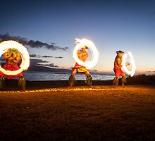 Muscular Poynesian Men Juggling Fire in Hawaii - Fire Dancers by DeborahKolb