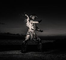 Muscular Poynesian Man Juggling Fire in Hawaii - Fire Dancer by DeborahKolb