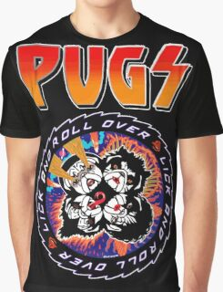 Kiss Pugs Lick and Roll Over Graphic T-Shirt