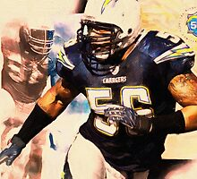 sports Shawne Merriman NFL  art by Adam Asar