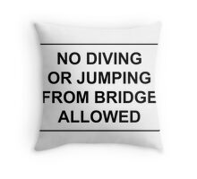 No Jumping or Diving from Bridge Allowed Throw Pillow