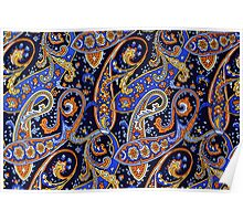 Colorful Vintage Blue and Orange Paisley Pattern Poster